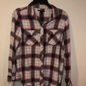 Forever 21 Snap Flannel Blouse